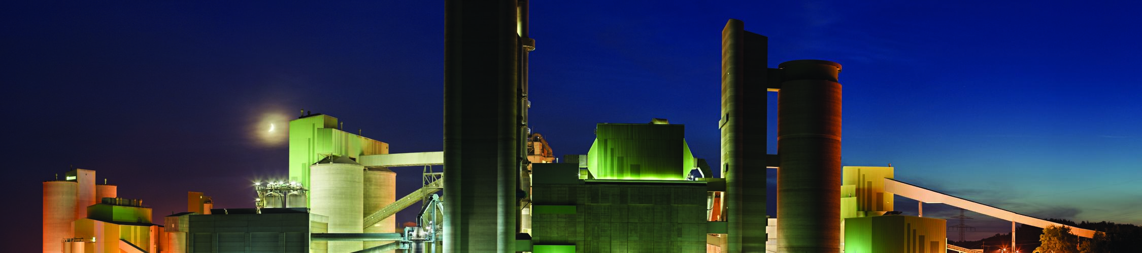 silos & conveyors at night