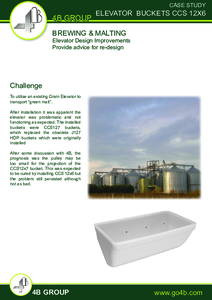 "Case Study - Elevator Redesign - Grain to ""Green Malt"" - with CC-S Buckets"
