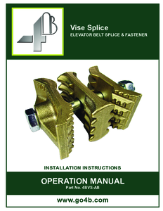 Product Manual - Vise Splice Elevator Belt Joiners