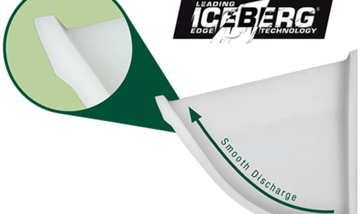 CC-S® Iceberg Edge front lip and smooth discharge design