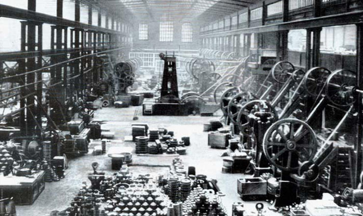 view of the Braime press shop in 1920